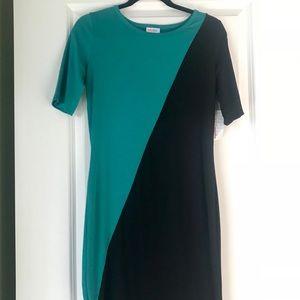 Retro Teal & Black 3/4 Sleeve LulaRoe Julia Dress